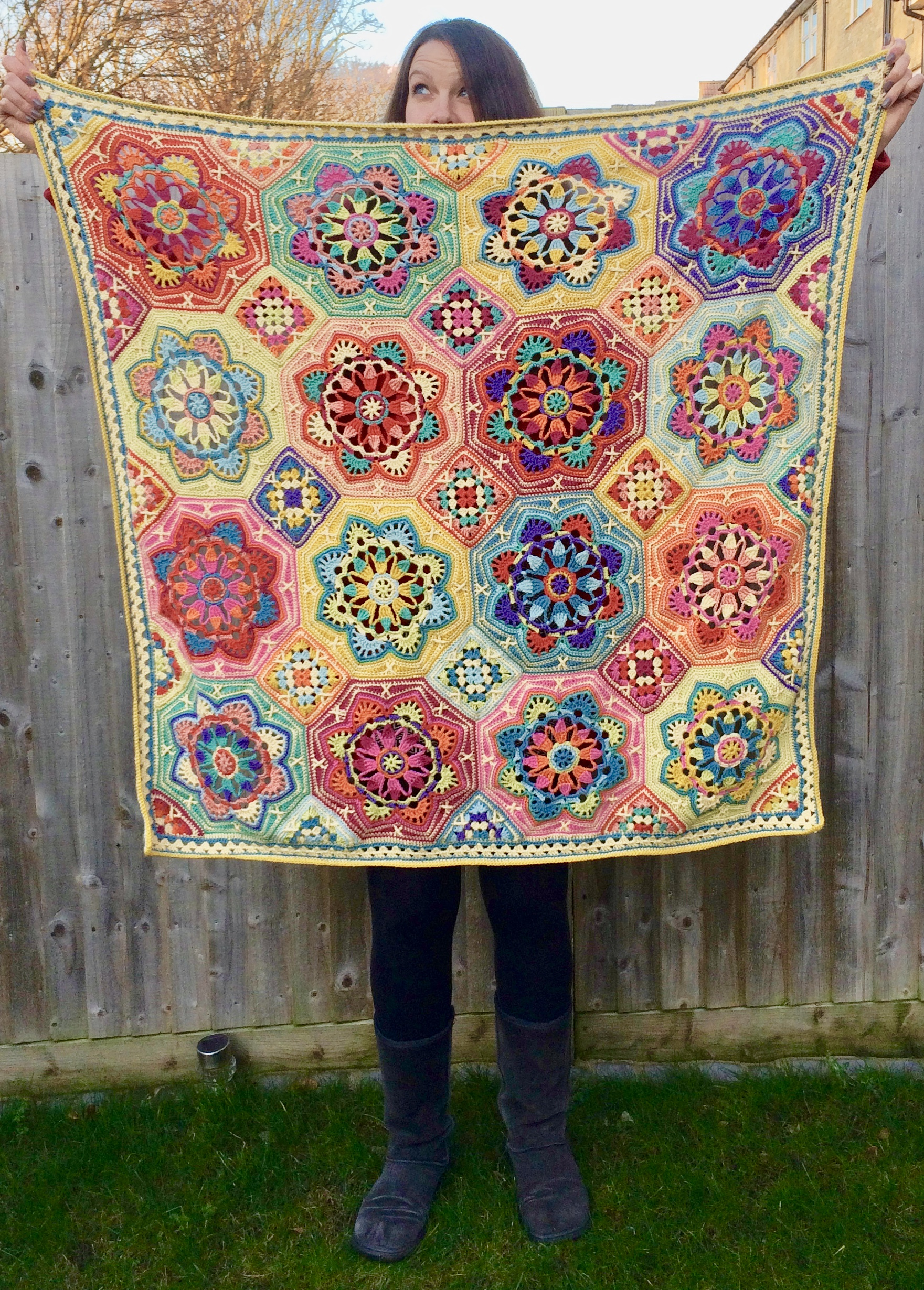 Julia with the Persian tiles eastern jewels crochet blanket