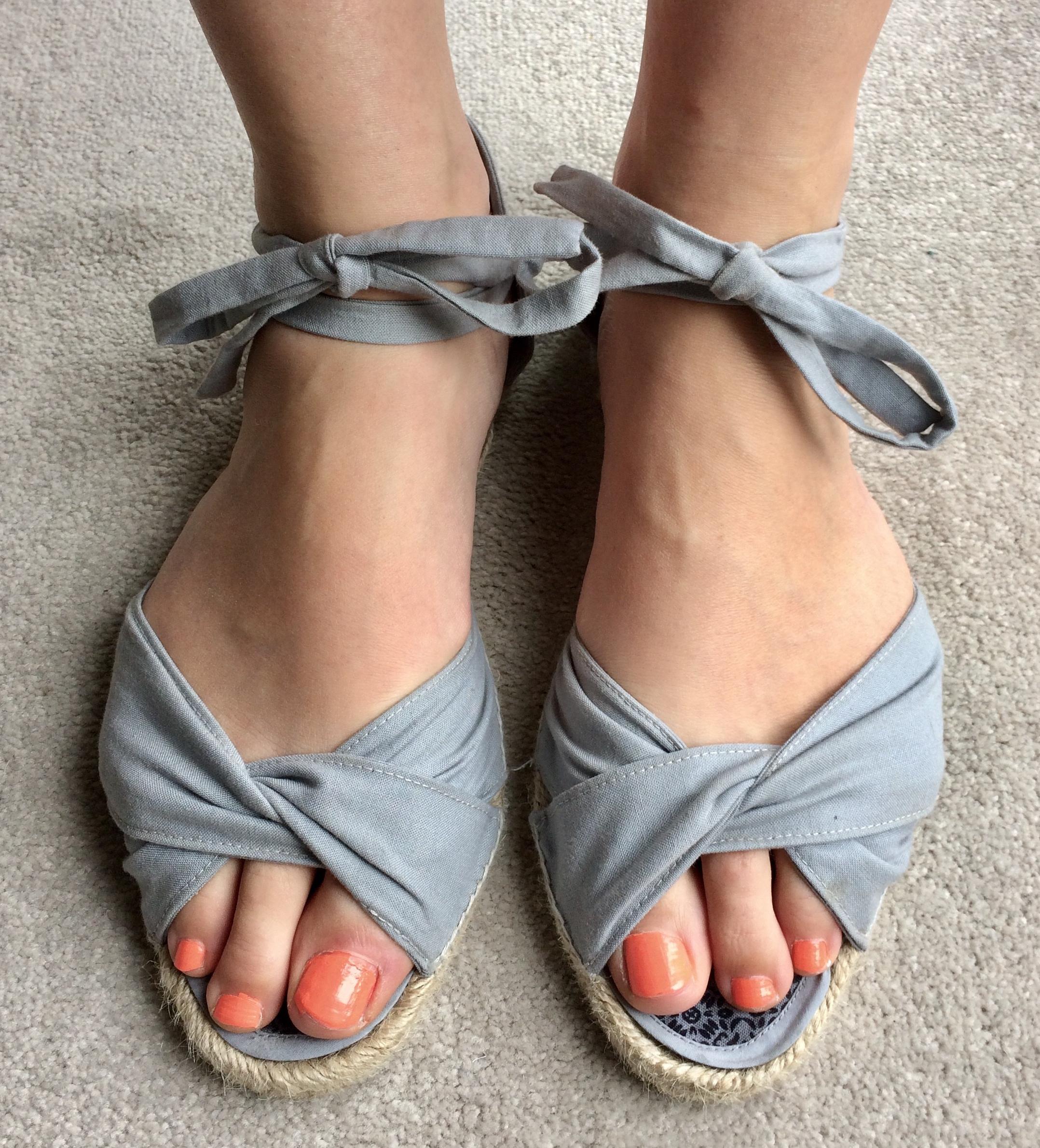 grey twist front open toe espadrilles