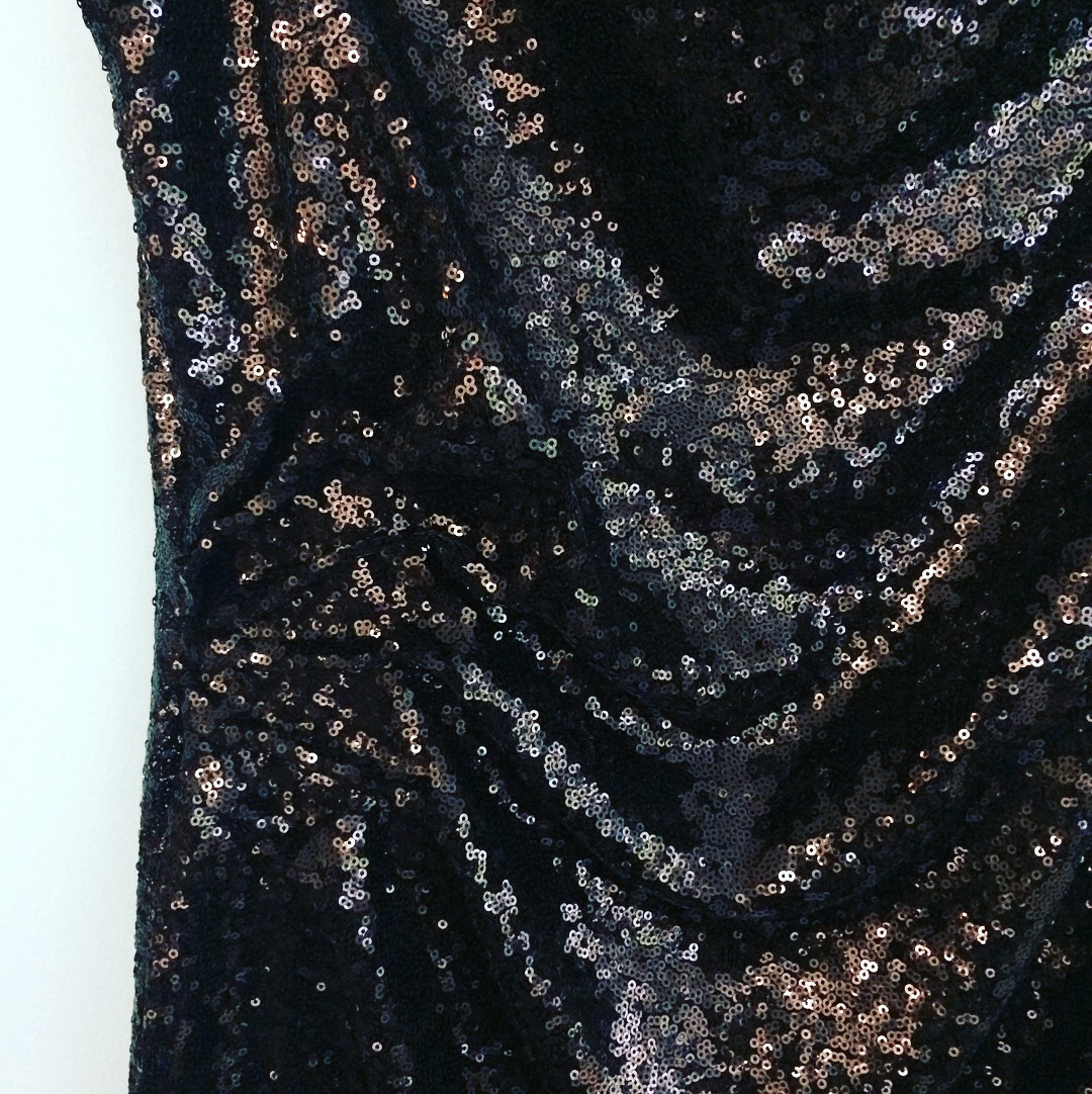 close up on black sequin dress