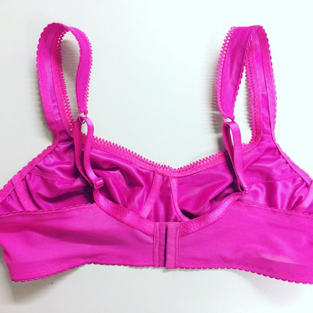 back of pink bra