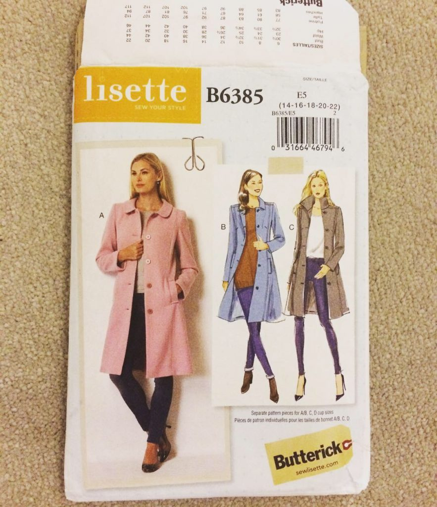 Butterick pattern - basic coat with 3 styles of neckline
