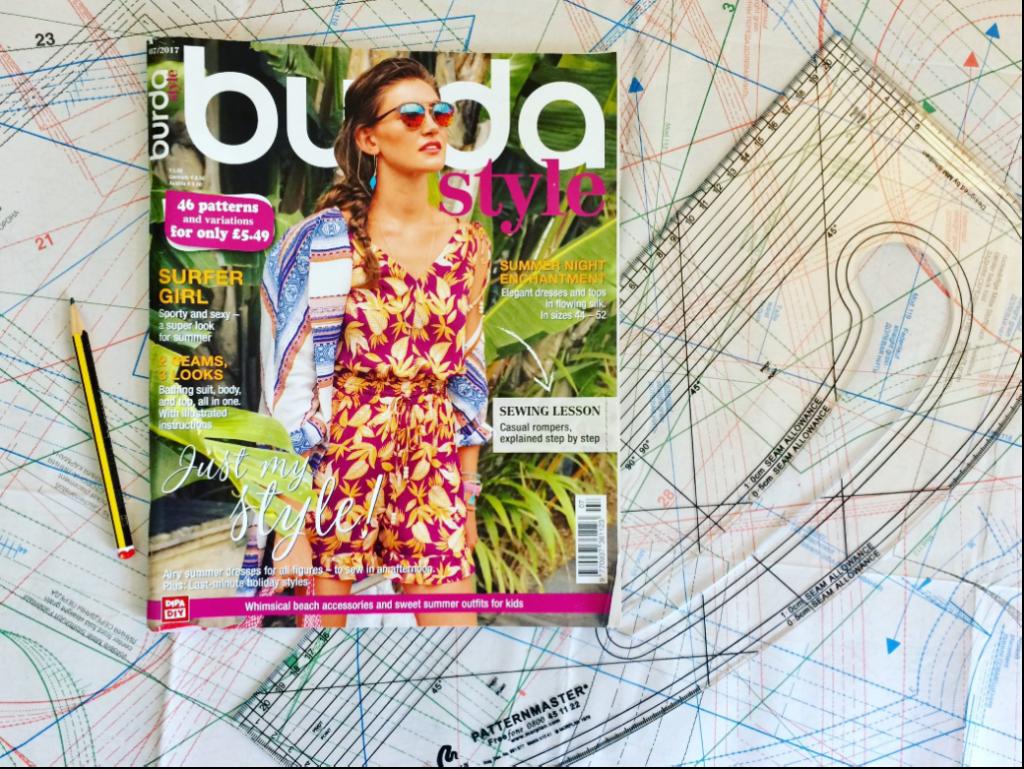 Burda magazine with pattern master ruler and pattern sheets